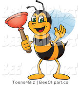 Clip Art of a Worker Bumble Bee Character Mascot Holding a Plunger by Toons4Biz