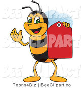 Clip Art of a Worker Bumble Bee Character Mascot Holding a Price Tag by Toons4Biz