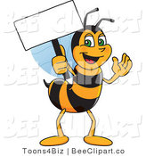 Clip Art of a Worker Bumble Bee Character Mascot Holding a Small Blank Sign by Toons4Biz