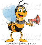 Clip Art of a Worker Bumble Bee Character Mascot Holding a Stop Sign by Toons4Biz