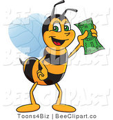 Clip Art of a Worker Bumble Bee Character Mascot Holding Cash by Toons4Biz