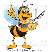 Clip Art of a Worker Bumble Bee Character Mascot Holding Scissors by Toons4Biz
