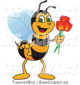 Clip Art of a Worker Bumble Bee Character Mascot Holding Tulips by Toons4Biz