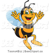 Clip Art of a Worker Bumble Bee Character Mascot Jumping by Toons4Biz