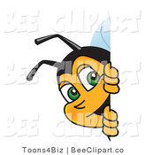 Clip Art of a Worker Bumble Bee Character Mascot Looking Around a Blank Sign by Toons4Biz