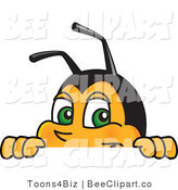 Clip Art of a Worker Bumble Bee Character Mascot Looking over a Blank Sign by Toons4Biz