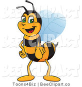 Clip Art of a Worker Bumble Bee Character Mascot Pointing Outwards by Toons4Biz