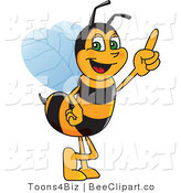 Clip Art of a Worker Bumble Bee Character Mascot Pointing Upwards by Toons4Biz