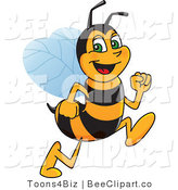 Clip Art of a Worker Bumble Bee Character Mascot Running by Toons4Biz