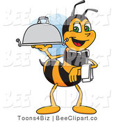 Clip Art of a Worker Bumble Bee Character Mascot Serving a Platter by Toons4Biz