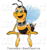 Clip Art of a Worker Bumble Bee Character Mascot Sitting on a Blank Sign by Toons4Biz