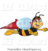 Clip Art of a Worker Bumble Bee Character Mascot Super Hero by Toons4Biz