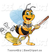 Clip Art of a Worker Bumble Bee Character Mascot Sweeping by Toons4Biz