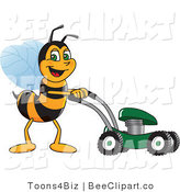 Clip Art of a Worker Bumble Bee Character Mascot Using a Lawn Mower by Toons4Biz