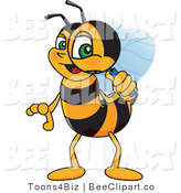 Clip Art of a Worker Bumble Bee Character Mascot Using a Magnifying Glass by Toons4Biz