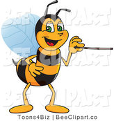 Clip Art of a Worker Bumble Bee Character Mascot Using a Pointer Stick by Toons4Biz