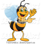 Clip Art of a Worker Bumble Bee Character Mascot Waving and Pointing by Toons4Biz