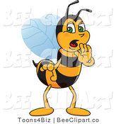 Clip Art of a Worker Bumble Bee Character Mascot Whispering by Toons4Biz