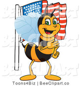 Clip Art of a Worker Bumble Bee Character Mascot with an American Flag by Toons4Biz