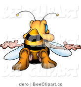 Clip Art of a Yellow and Black Honey Bee Sticking His Butt in the Air by Dero