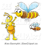 Clip Art of a Yellow Ant with Flying Bees by Alex Bannykh