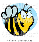 Clip Art of a Yellow Bee Smiling by Hit Toon
