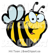 Clip Art of a Yellow Happy Bee by Hit Toon