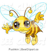 Clip Art of an Adorable Bee Flying by Pushkin