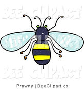 Clip Art of an Aerial View of a Yellow and Black Honey Bee by Prawny