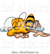 Clip Art of an Exhausted Yellow Honeybee Collapsed and Falling Asleep by Dero