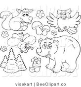 Clip Art of an Outlined Bear Owl Squirrel Bee and Plants by Visekart