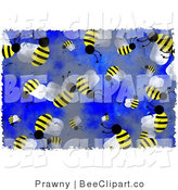 Clip Art of Busy Honey Bees on Blue by Prawny