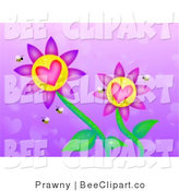 Clip Art of Heart Flowers with Bees on a Purple Heart Patterned Background by Prawny