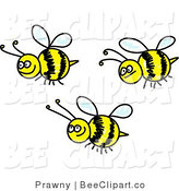 Clip Art of Three Happy Bees by Prawny