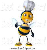 Vector Clip Art of a 3d Chef Bee Giving a Thumb up by Julos