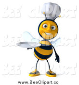 Vector Clip Art of a 3d Chef Bee Holding out a Plate by Julos
