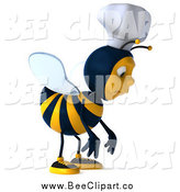 Vector Clip Art of a 3d Chef Bee Pouting and Facing Right by Julos