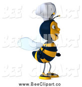 Vector Clip Art of a 3d Excited Chef Bee Facing Right by Julos