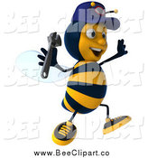 Vector Clip Art of a 3d Excited Mechanic Bee Jumping by Julos