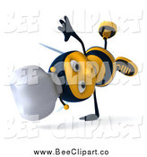 Vector Clip Art of a 3d Happy Chef Bee Cartwheeling by Julos