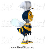 Vector Clip Art of a 3d Happy Chef Bee Facing Right by Julos