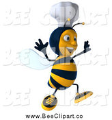 Vector Clip Art of a 3d Happy Chef Bee Jumping by Julos