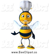Vector Clip Art of a 3d Happy Chef Bee Presenting by Julos