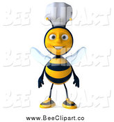 Vector Clip Art of a 3d Happy Chef Bee Standing by Julos
