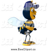 Vector Clip Art of a 3d Happy Mechanic Bee Facing Right 1 by Julos