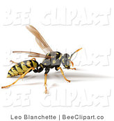 Vector Clip Art of a 3d Jellow Jacket Wasp by Leo Blanchette