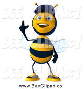 Vector Clip Art of a 3d Mechanic Bee Pointing Upwards3d Mechanic Bee Pointing Upwards by Julos