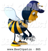 Vector Clip Art of a 3d Pouting Mechanic Bee by Julos