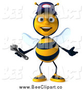 Vector Clip Art of a 3d Talking Mechanic Bee by Julos