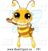 Vector Clip Art of a Adorable Girl Honey Bee Waving While Flying by Pushkin